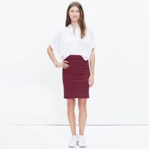 Madewell Navy & Red  Sailor Striped City Skirt NWT